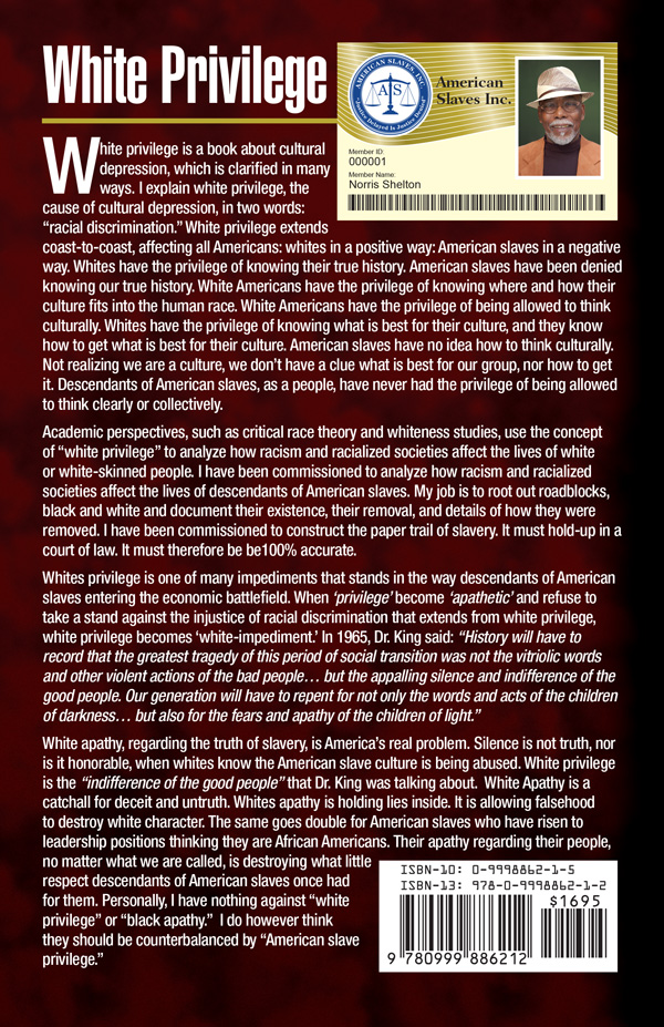 White Privilege White Apathy White Ignorance Back Cover